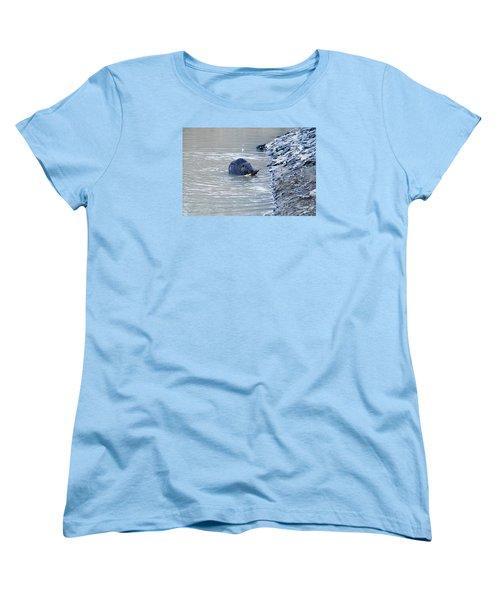 Beaver Chews On Stick Women's T-Shirt (Standard Cut) by Chris Flees