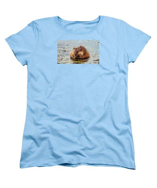 Beaver Portrait On Canvas Women's T-Shirt (Standard Cut) by Dan Sproul