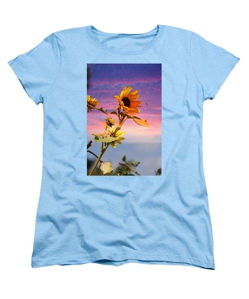 Women's T-Shirt (Standard Cut) featuring the photograph Bee A Sunflower by Aaron Berg