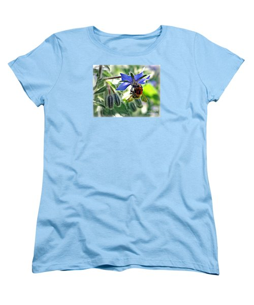 Women's T-Shirt (Standard Cut) featuring the photograph Bee On Borage by Morag Bates