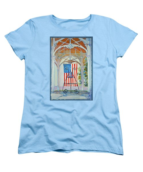 Women's T-Shirt (Standard Cut) featuring the painting Bell And Flag by Mary Haley-Rocks