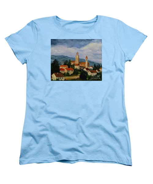 Women's T-Shirt (Standard Cut) featuring the painting Bell Tower Of Vinci by Julie Brugh Riffey