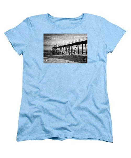 Women's T-Shirt (Standard Cut) featuring the photograph Belmar Fishing Pier In Black And White by Debra Fedchin