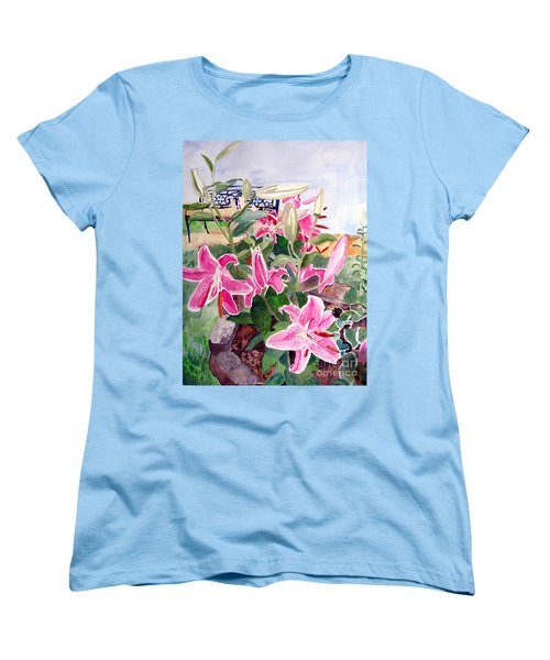 Women's T-Shirt (Standard Cut) featuring the painting Bench On A Hill by Sandy McIntire