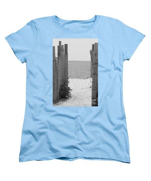 Beyond The Dunes Bw Women's T-Shirt (Standard Cut) by Barbara Bardzik