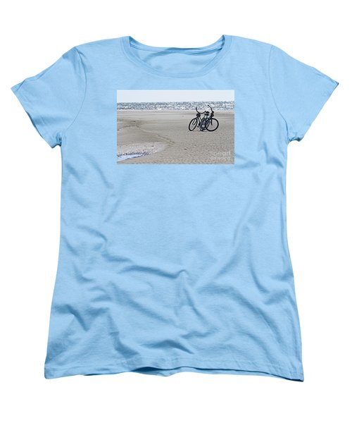 Bicycles On The Beach Women's T-Shirt (Standard Cut) by Kevin McCarthy