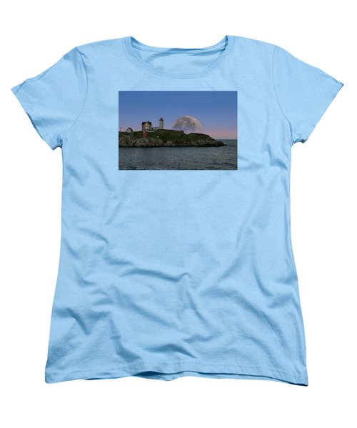 Big Moon Over Nubble Lighthouse Women's T-Shirt (Standard Cut) by Jeff Folger