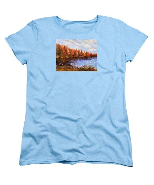 Women's T-Shirt (Standard Cut) featuring the painting Birchwood Lake by Jason Williamson