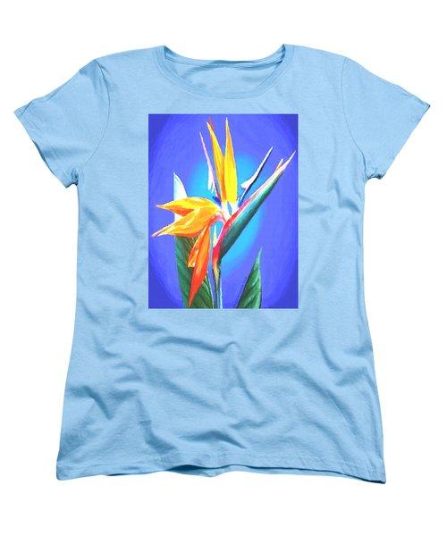 Women's T-Shirt (Standard Cut) featuring the painting Bird Of Paradise Flower by Sophia Schmierer