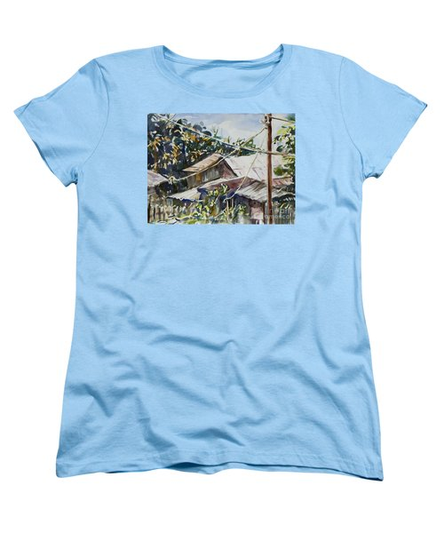 Women's T-Shirt (Standard Cut) featuring the painting Bird's Eye View by Xueling Zou
