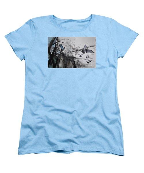 Women's T-Shirt (Standard Cut) featuring the photograph Birds by Maja Sokolowska