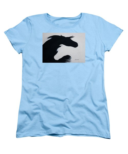 Women's T-Shirt (Standard Cut) featuring the painting Black And White Horses Together Forever by Barbie Batson