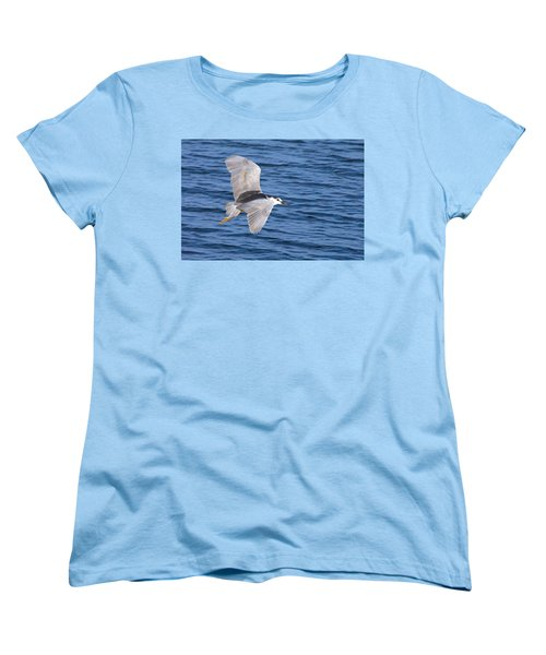 Women's T-Shirt (Standard Cut) featuring the photograph Black Crowned Night Heron In Flight by Greg Graham