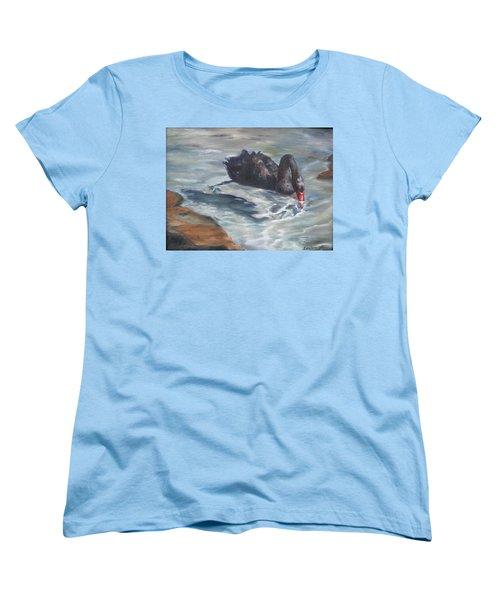 Women's T-Shirt (Standard Cut) featuring the painting Black Elegance by Lori Brackett