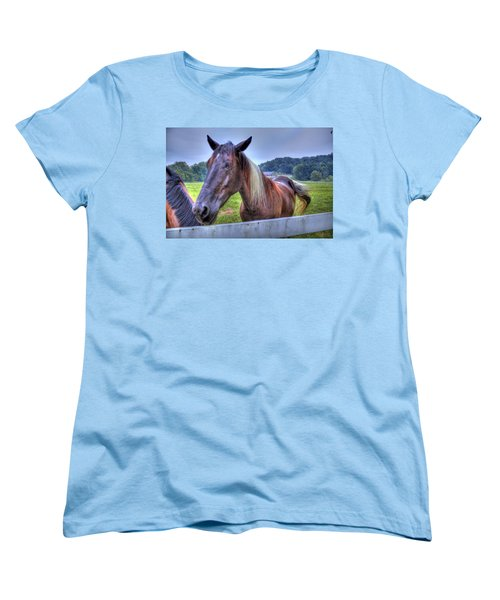 Women's T-Shirt (Standard Cut) featuring the photograph Black Horse At A Fence by Jonny D