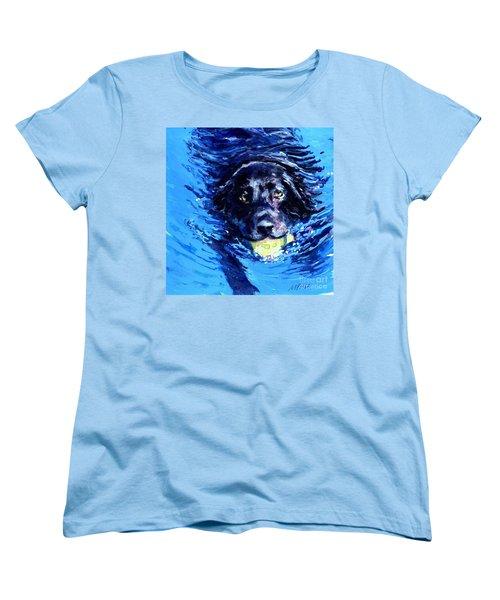 Black Lab  Blue Wake Women's T-Shirt (Standard Cut) by Molly Poole
