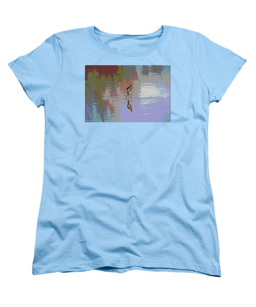 Women's T-Shirt (Standard Cut) featuring the photograph Black Neck Stilt Out In The Pond by Tom Janca