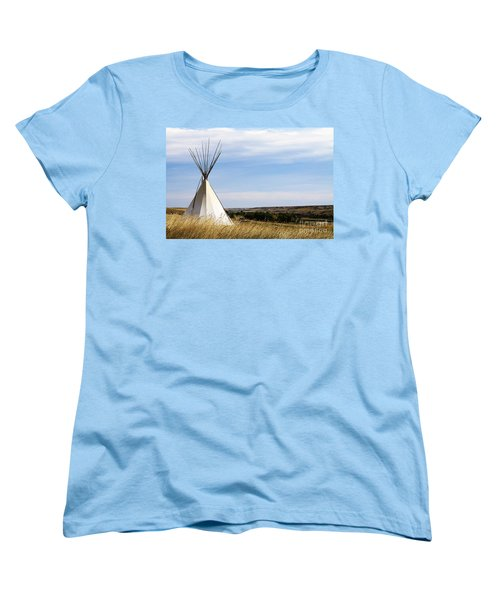 Women's T-Shirt (Standard Cut) featuring the photograph Blackfoot Teepee by Alyce Taylor