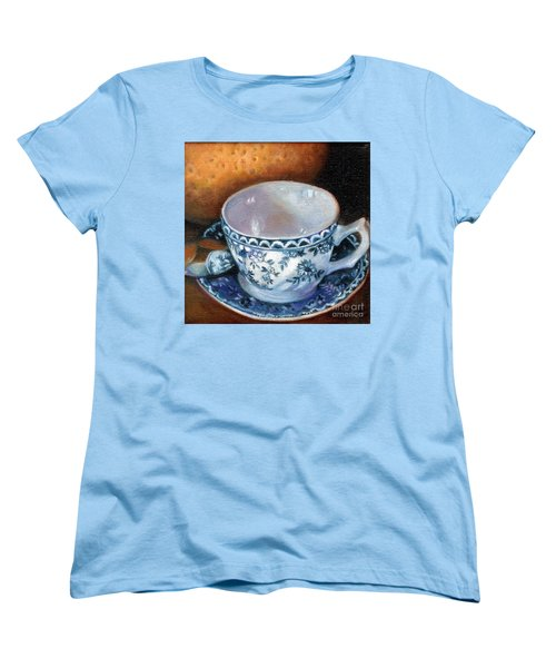 Blue And White Teacup With Spoon Women's T-Shirt (Standard Cut)