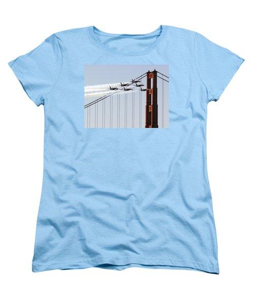 Blue Angels And The Bridge Women's T-Shirt (Standard Cut) by Bill Gallagher