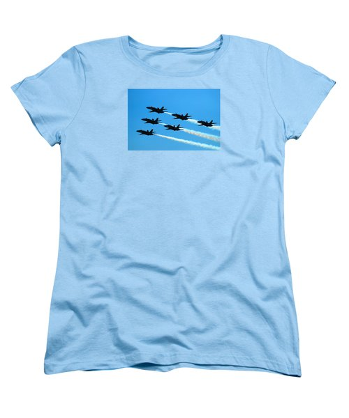 Women's T-Shirt (Standard Cut) featuring the photograph Blue Angels The Need For Speed by James Kirkikis