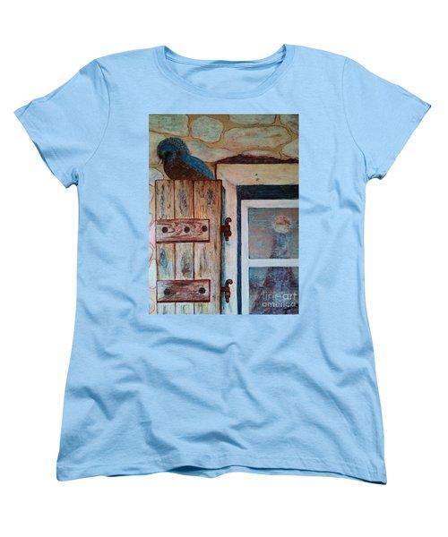 Women's T-Shirt (Standard Cut) featuring the painting Blue Bird by Jasna Gopic