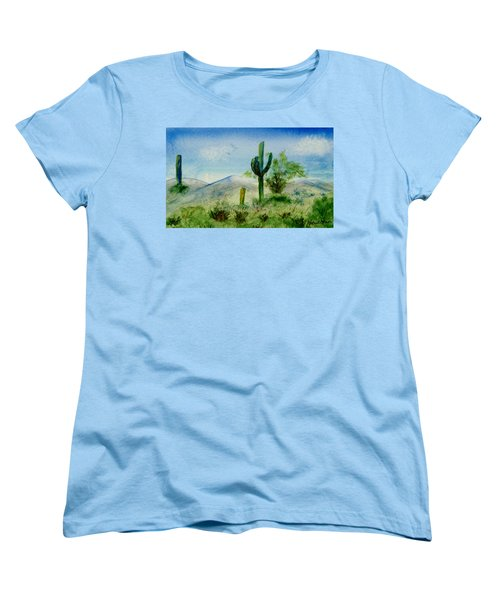 Women's T-Shirt (Standard Cut) featuring the painting Blue Cactus by Jamie Frier