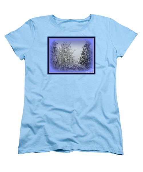 Blue Christmas Women's T-Shirt (Standard Cut) by Leone Lund