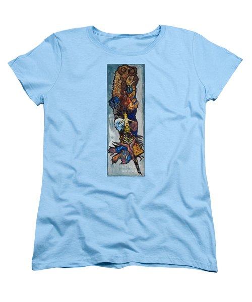 Blue Crow Feather- Crow Series Women's T-Shirt (Standard Cut) by Emily McLaughlin