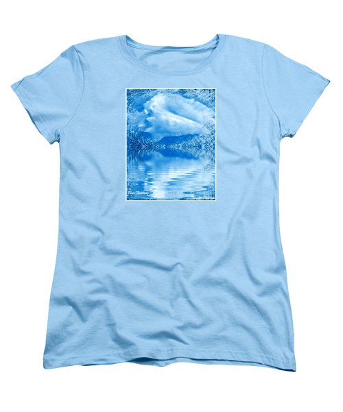 Women's T-Shirt (Standard Cut) featuring the mixed media Blue Healing by Ray Tapajna