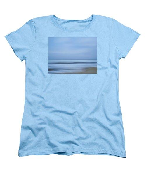 Blue Hour Beach Abstract Women's T-Shirt (Standard Cut) by Linda Villers