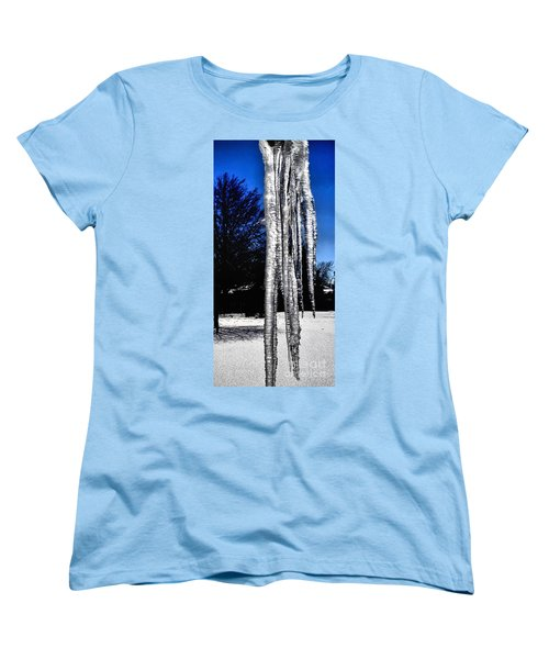 Women's T-Shirt (Standard Cut) featuring the photograph Blue Ice by Luther Fine Art