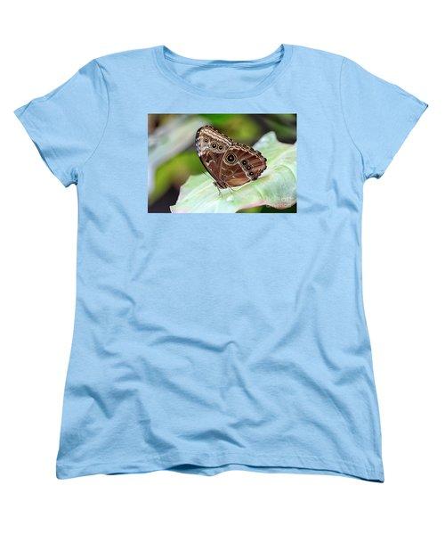 Women's T-Shirt (Standard Cut) featuring the photograph Blue Morpho Butterfly by Teresa Zieba