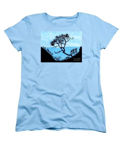Women's T-Shirt (Standard Cut) featuring the drawing Blue Mountain by D Hackett