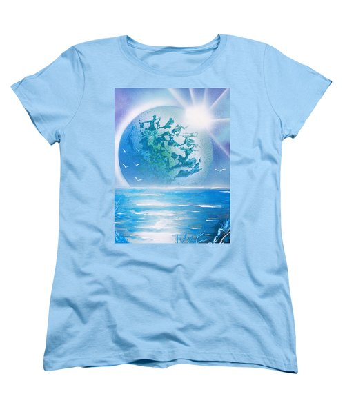 Women's T-Shirt (Standard Cut) featuring the painting Blue Moon by Greg Moores