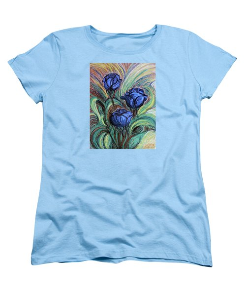 Women's T-Shirt (Standard Cut) featuring the painting Blue Roses by Jasna Dragun