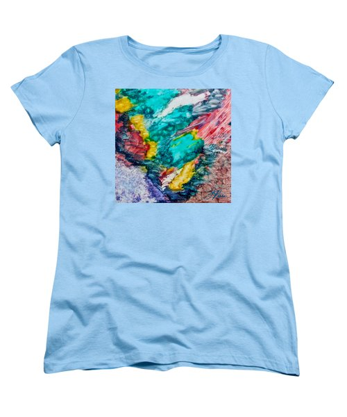 Women's T-Shirt (Standard Cut) featuring the painting Blue Rush by Joan Reese