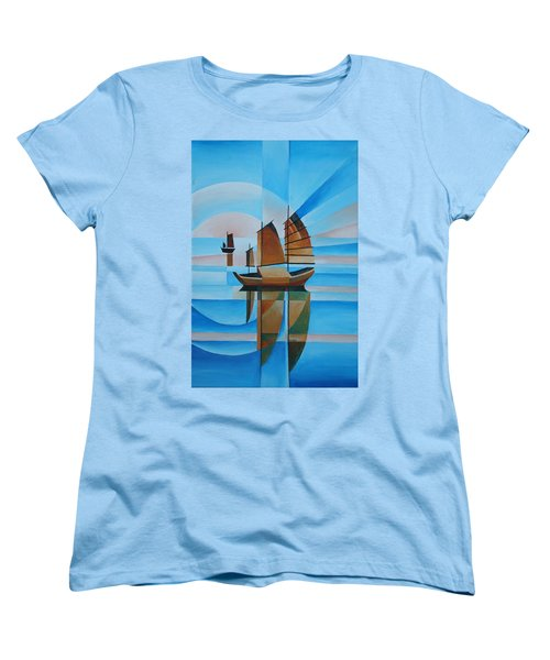 Women's T-Shirt (Standard Cut) featuring the painting Blue Skies And Cerulean Seas by Tracey Harrington-Simpson