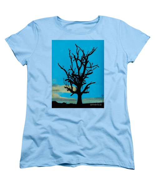 Women's T-Shirt (Standard Cut) featuring the drawing Blue Sunset by D Hackett