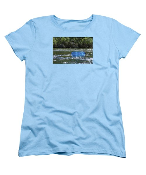 Blue Floaty - Inner Tube On The River Women's T-Shirt (Standard Cut) by Jane Eleanor Nicholas