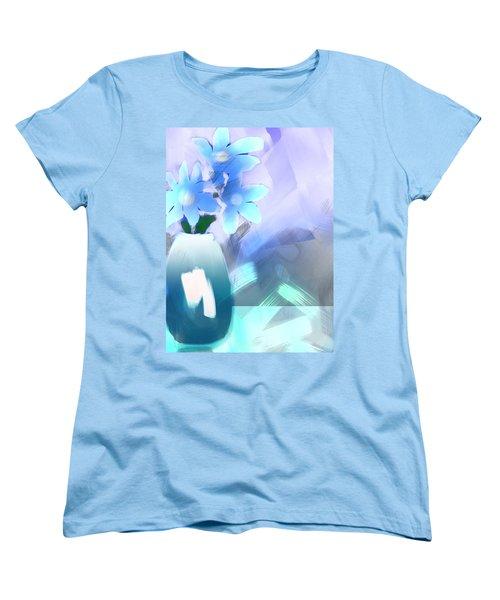 Women's T-Shirt (Standard Cut) featuring the digital art Blue Vase Of Flowers by Frank Bright