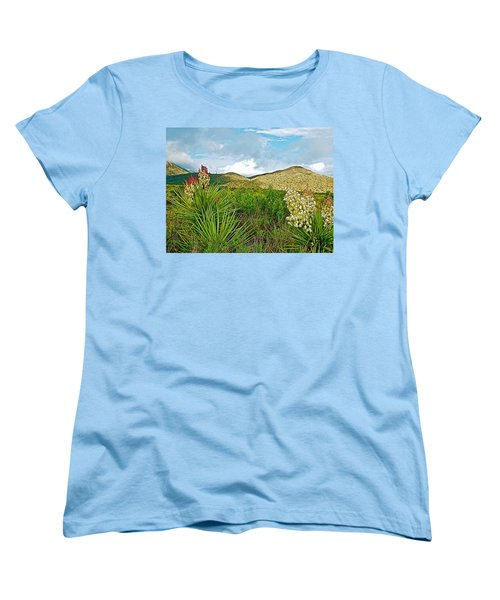 Blue Yucca And Chisos Mountains In Big Bend National Park-texas Women's T-Shirt (Standard Cut) by Ruth Hager