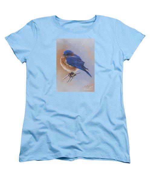 Bluebird In The Snow Women's T-Shirt (Standard Cut) by Lena Auxier