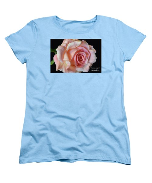 Women's T-Shirt (Standard Cut) featuring the photograph Blushing Pink Rose by Jeannie Rhode