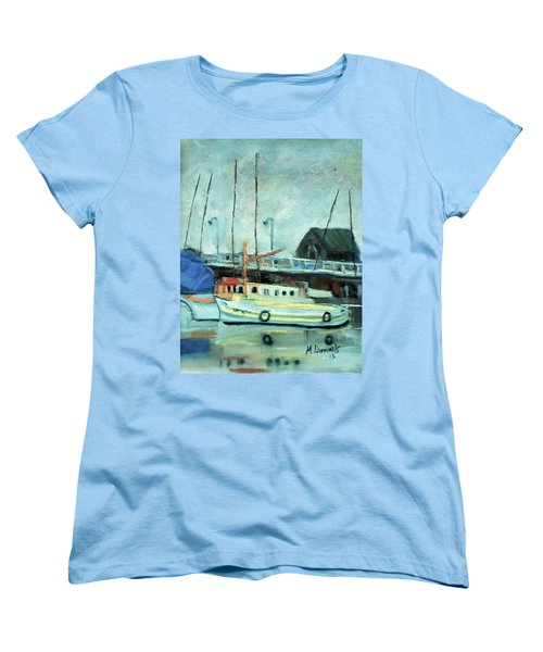 Women's T-Shirt (Standard Cut) featuring the painting Boats At Provincetown Ma by Michael Daniels