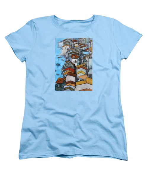 Boats In Front Of The Buildings Iv Women's T-Shirt (Standard Cut) by Xueling Zou