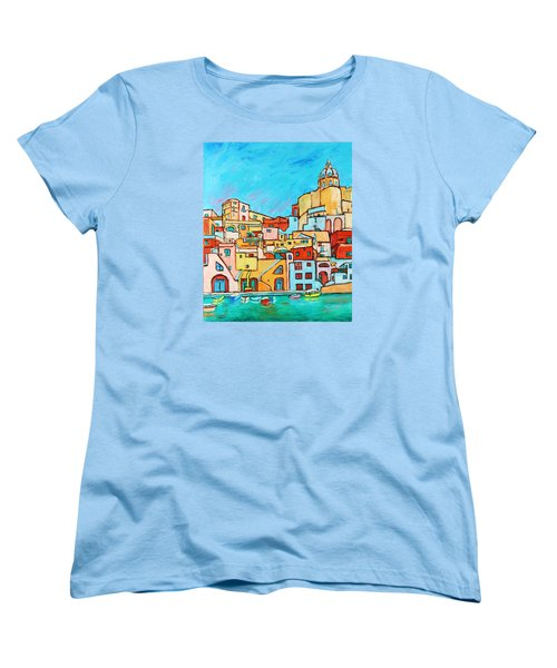 Boats In Front Of The Buildings Vii Women's T-Shirt (Standard Cut) by Xueling Zou