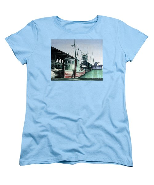 Women's T-Shirt (Standard Cut) featuring the painting Boats by Joey Agbayani