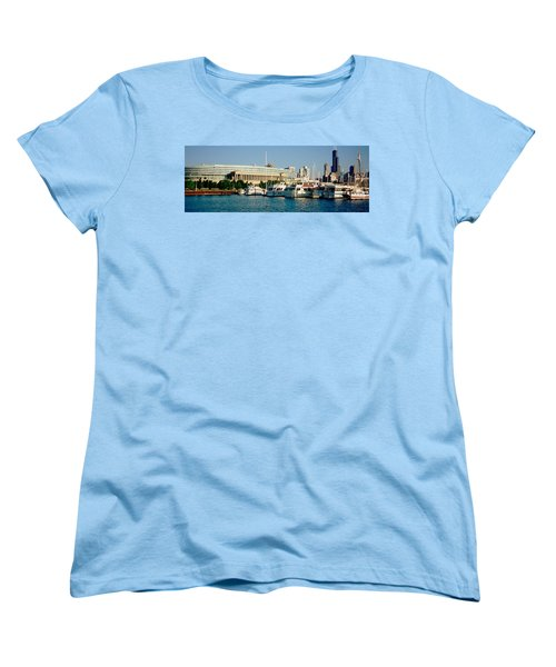 Boats Moored At A Dock, Chicago Women's T-Shirt (Standard Cut) by Panoramic Images