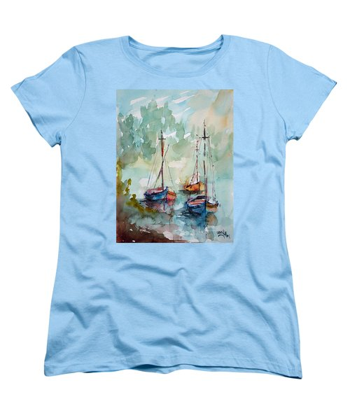 Women's T-Shirt (Standard Cut) featuring the painting Boats On Lake  by Faruk Koksal